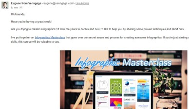 Email Invitation from Eugene from Venngage to attend Inforgraphics Masterclass